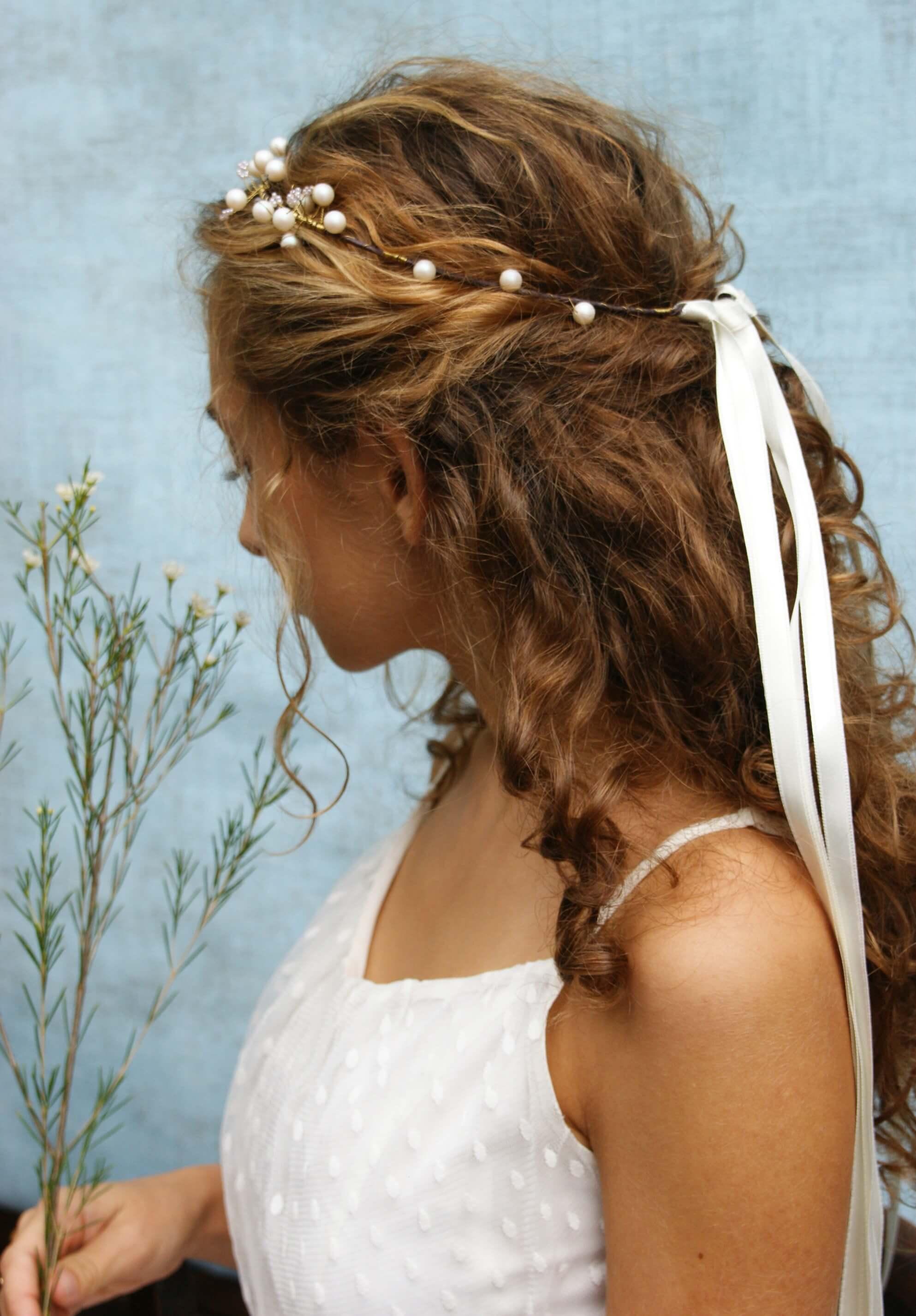 Szalagos koszorú menyasszonyi fejdísz