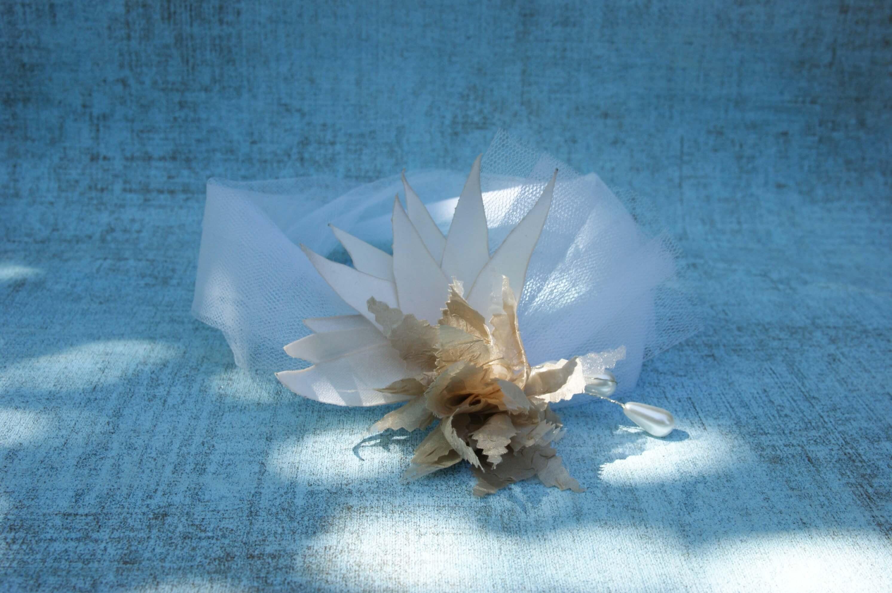 Textil fejpánt menyasszonyi fejdísz